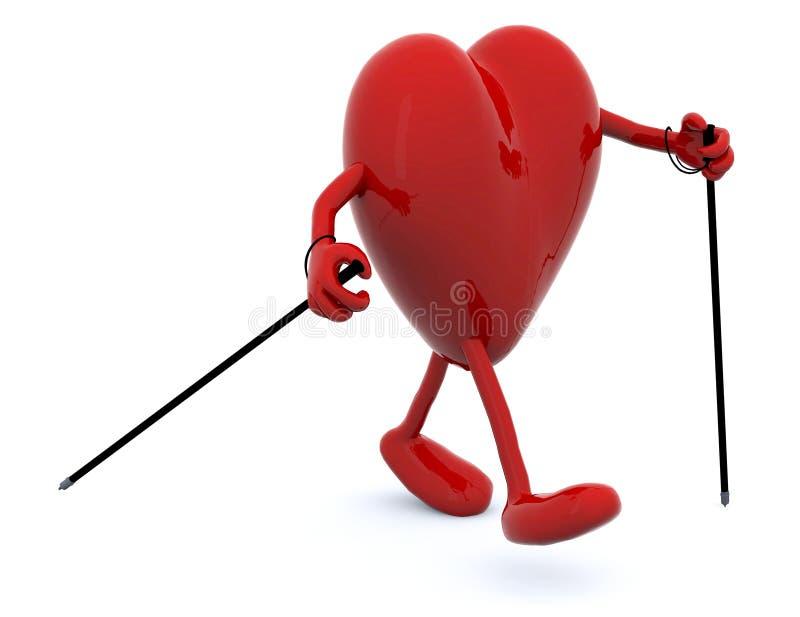 Coração com braços, pés e varas ilustração do vetor