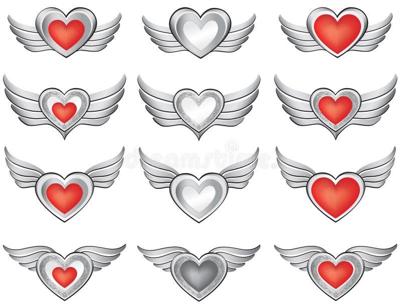 Coração com coleção das asas. Quadro festivo de prata ilustração stock