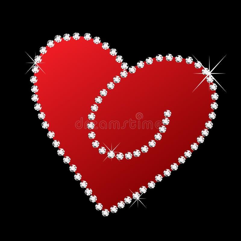 Coração com diamantes ilustração royalty free