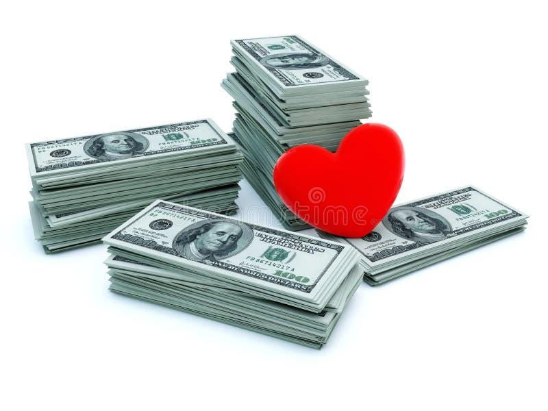 Coração com dinheiro ilustração stock