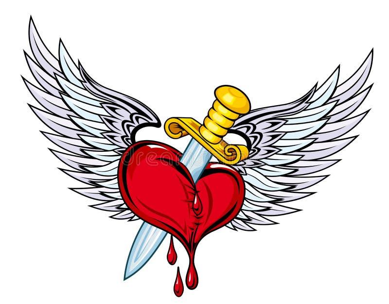 Coração com espada e asas ilustração royalty free