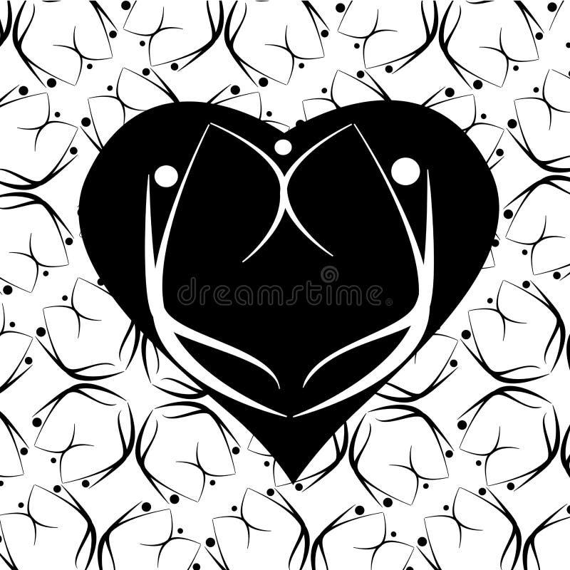 Coração com família ilustração royalty free