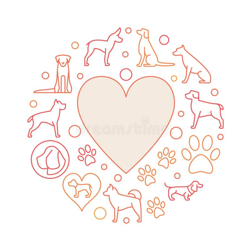 Coração com ilustração redonda dos ícones do cão ilustração royalty free