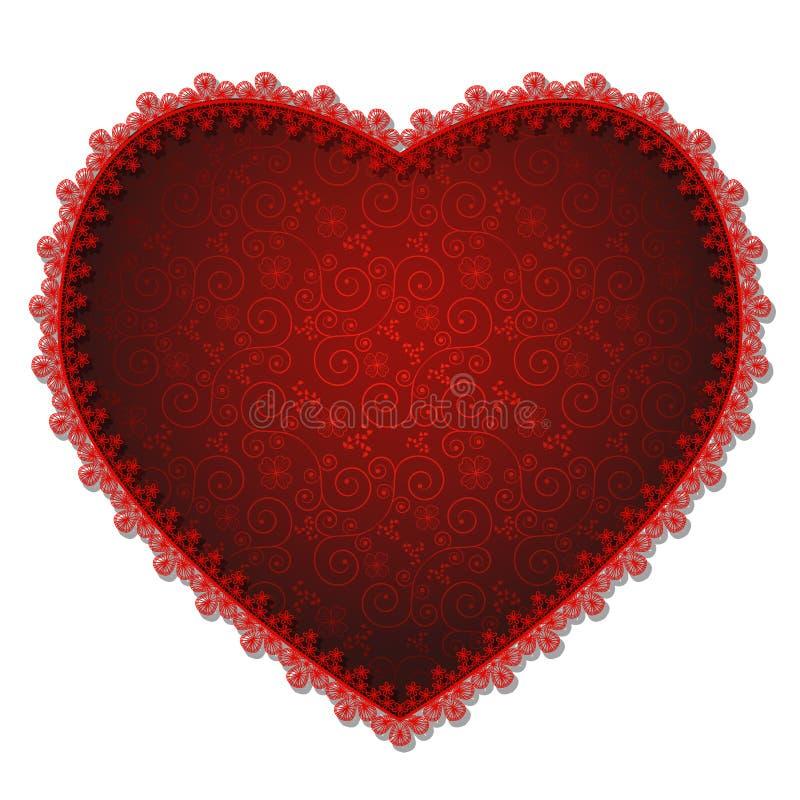 Coração com laço e sombra vermelhos ilustração do vetor