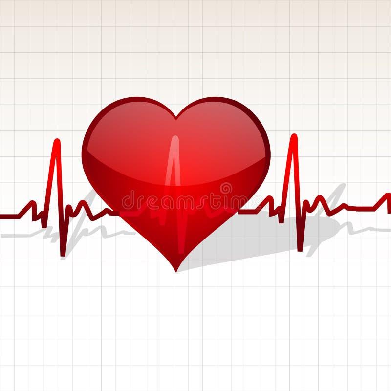 Coração com linha de vida ilustração do vetor