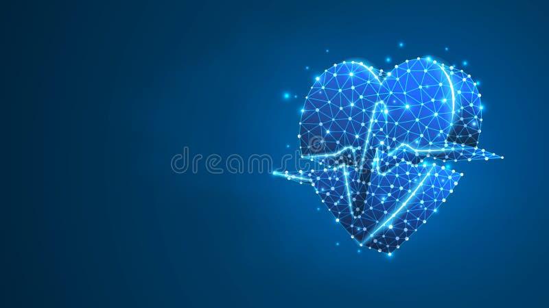 Coração com linha do pulso Conceito poligonal da tecnologia dos cuidados médicos, cardio- verificação Sumário, digital, ponto bai ilustração royalty free