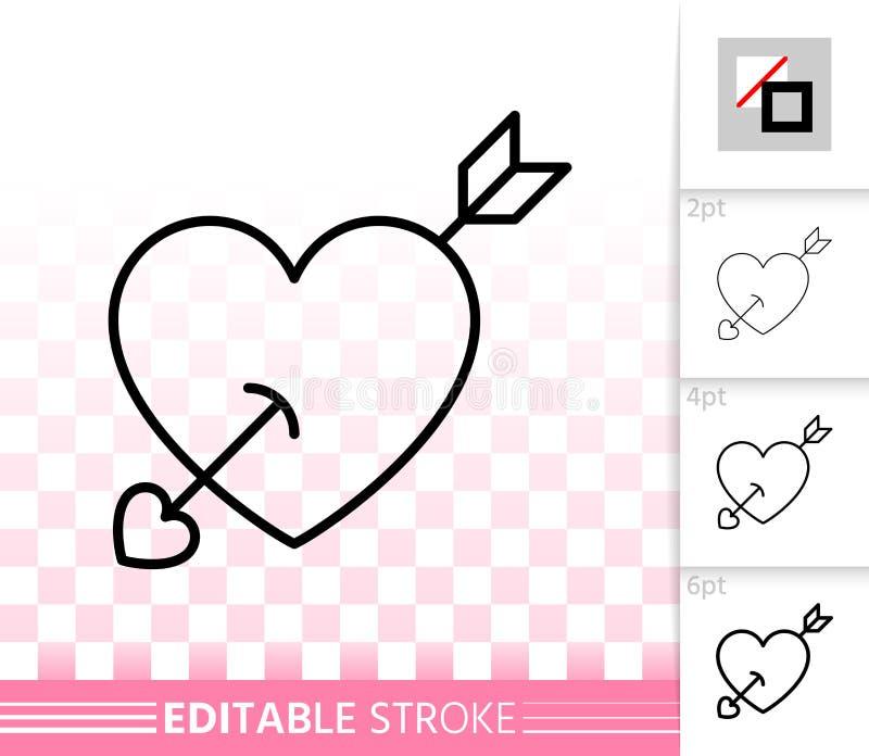Coração com linha simples ícone do cartão do amor da seta do vetor ilustração stock