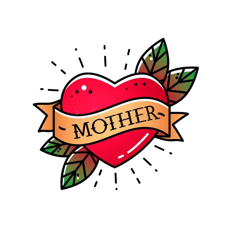 Coração com a mamã da fita e da inscrição Cumprimentando o elemento retro do cartão para o dia de mãe Tatuagem do vintage Vetor l ilustração stock