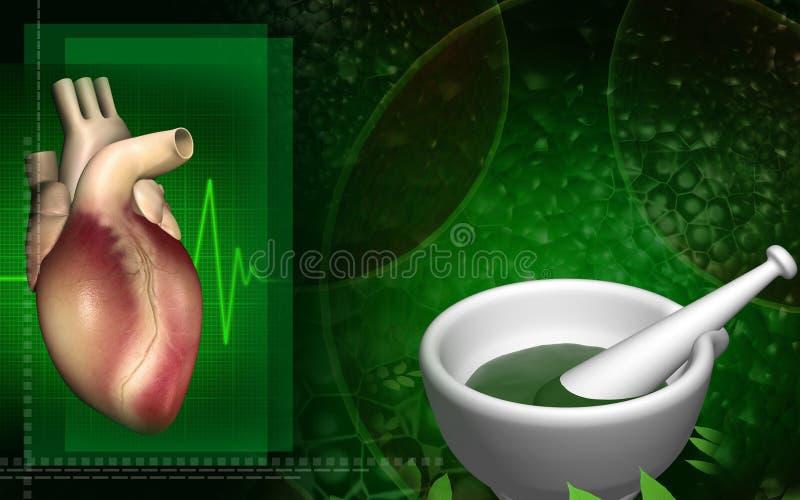 Coração com medicina ayurvedic ilustração do vetor