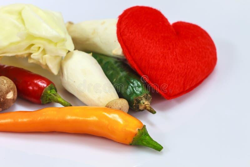 Coração com o legume fresco para cozinhar foto de stock