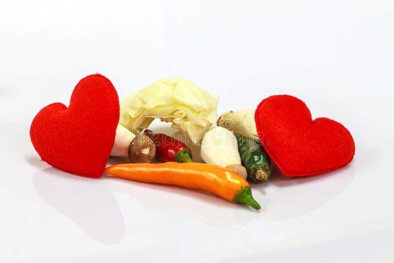 Coração com o legume fresco para cozinhar imagem de stock royalty free