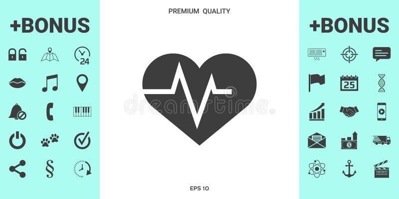 Coração com onda de ECG - símbolo do cardiograma Ícone médico ilustração stock