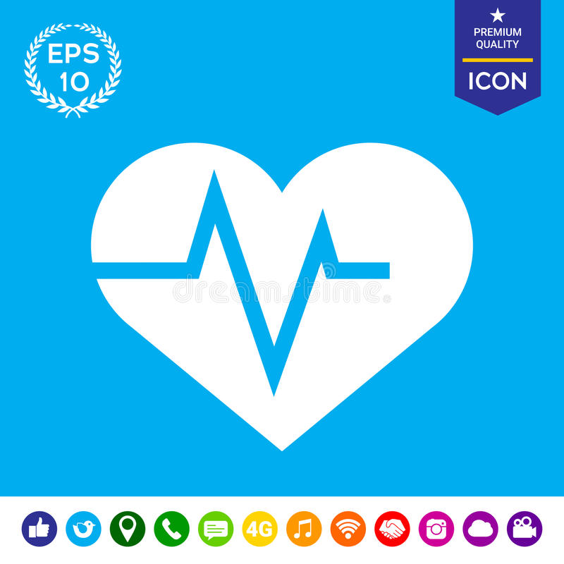 Coração com onda de ECG - símbolo do cardiograma Ícone médico ilustração royalty free