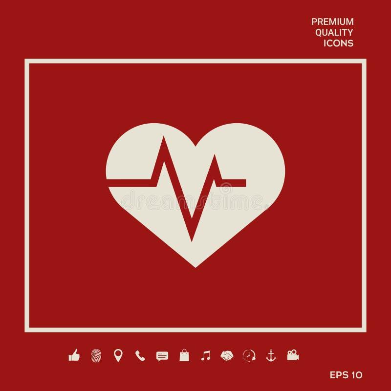 Coração com onda de ECG - símbolo do cardiograma Ícone médico Elementos gráficos para seu projeto ilustração royalty free