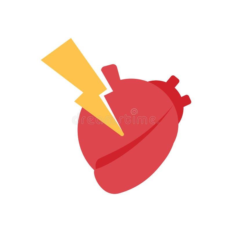 Coração com parafuso de relâmpago, sinal do cardíaco de ataque e símbolo, vetor ilustração royalty free