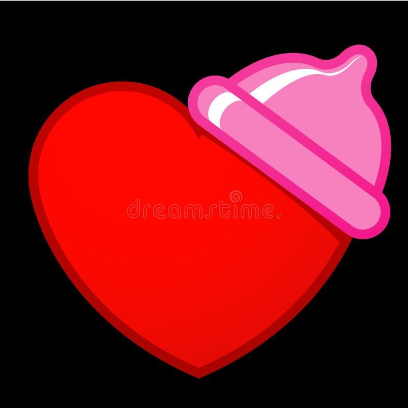 Coração com preservativo ilustração royalty free