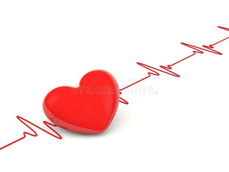 Coração com pulsação do coração ilustração do vetor
