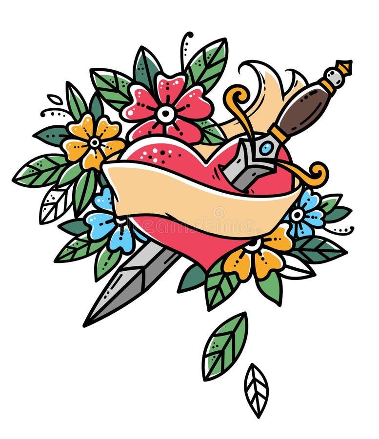 Coração com punhal, fita e flores Tatuagem retro Ilustração retro do vetor da velha escola ilustração do vetor