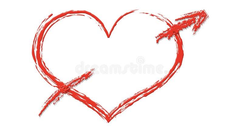 Coração com seta ilustração do vetor