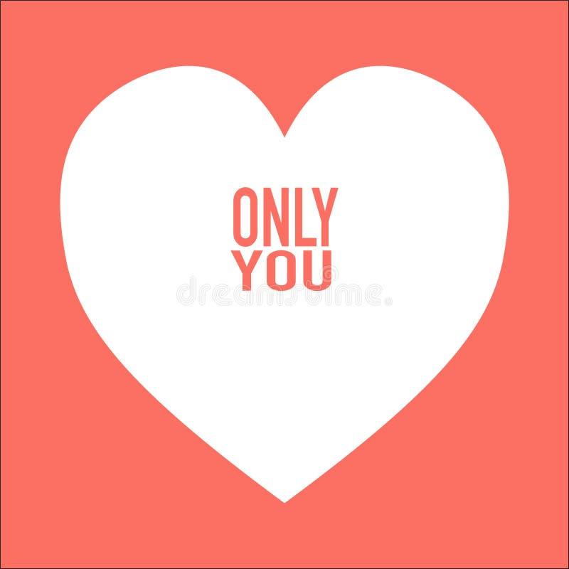 coração com simplesmente você no fundo agradável ilustração royalty free