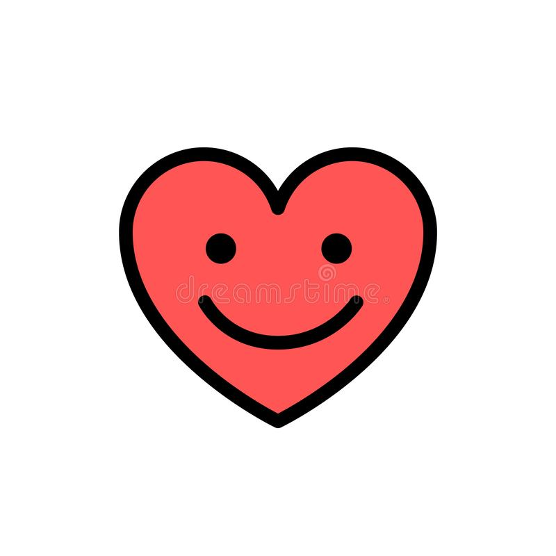 Coração com sorriso na cara Linha bonito ícone da garatuja Ilustração de sorriso do vetor do símbolo do amor do coração ilustração do vetor
