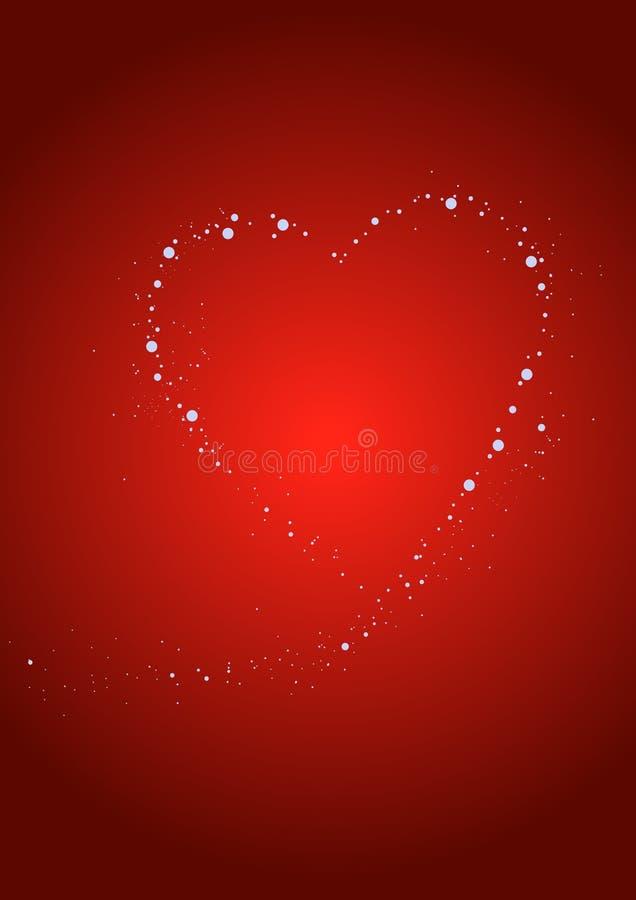 Coração com sparkles em um fundo vermelho ilustração do vetor