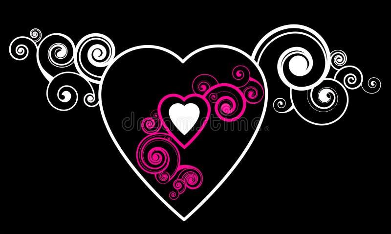 Coração com teste padrão decorativo ilustração stock