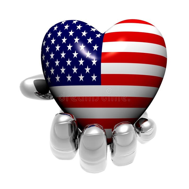 Coração com a textura da bandeira dos E.U. isolada em um branco ilustração royalty free