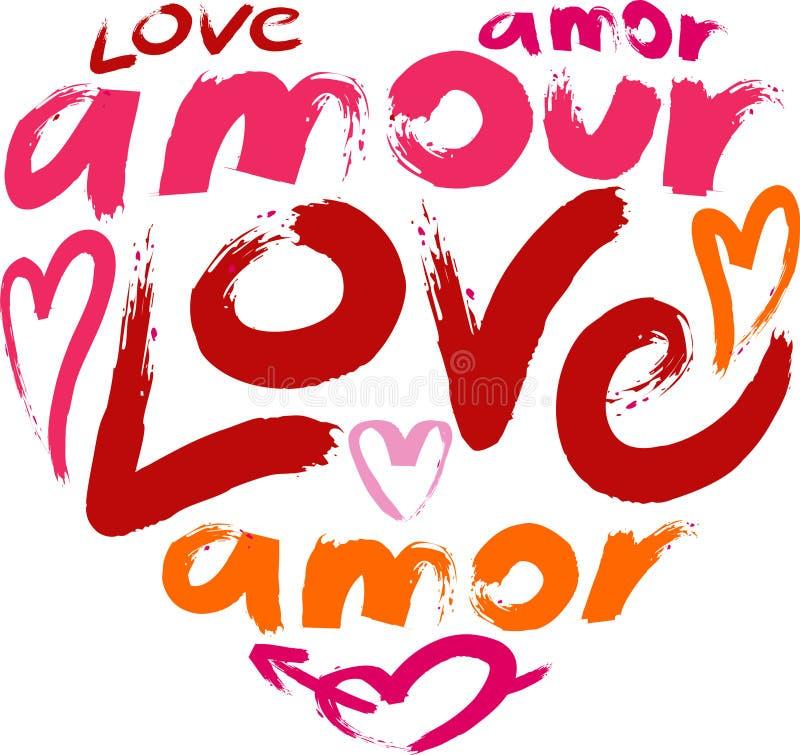Coração com um amor da palavra no muitas línguas ilustração do vetor
