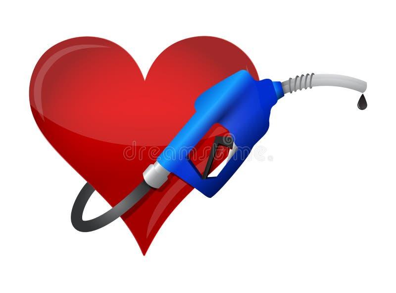 Coração com um bocal da bomba de gás ilustração do vetor