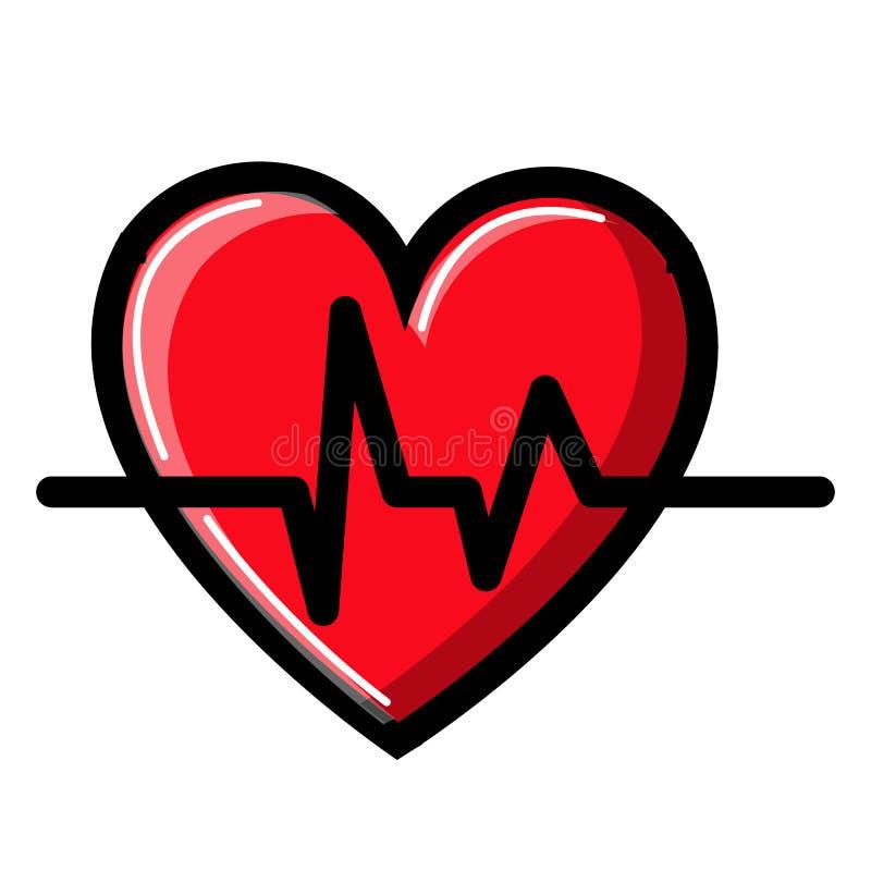 Cora??o com um cardiograma e pulso, ?cone em um fundo branco Ilustra??o do vetor ilustração do vetor