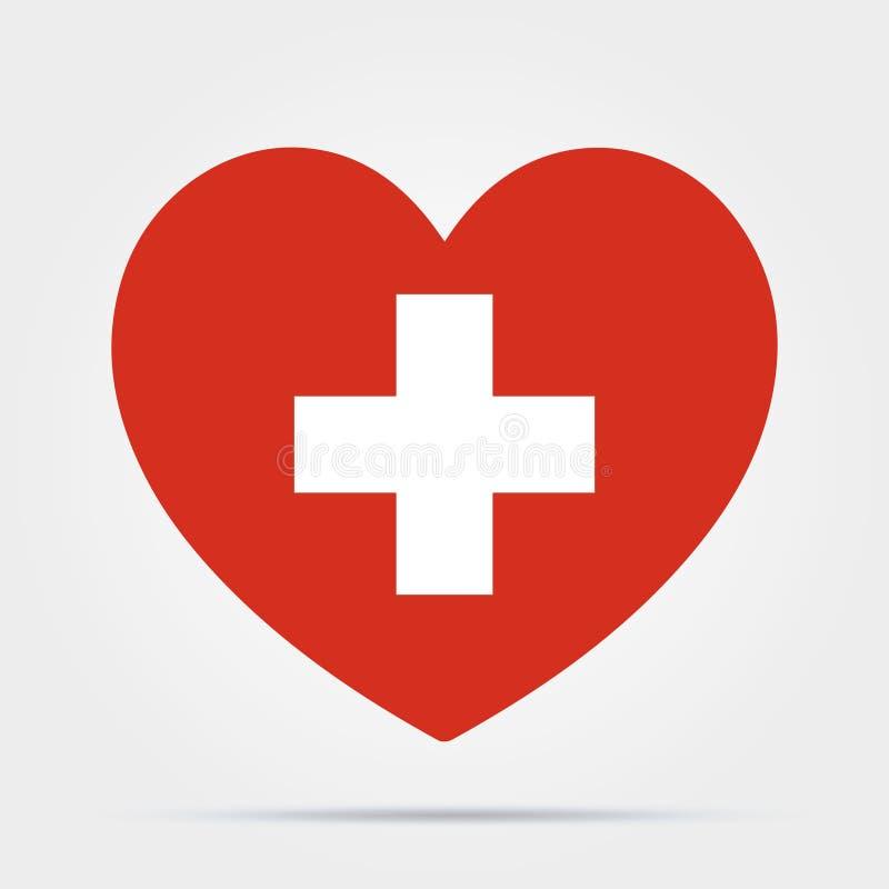 Coração com uma cruz isolada sobre fundo branco Cuidados de saúde, ícone do símbolo médico Ícone de assistência médica Existência ilustração royalty free