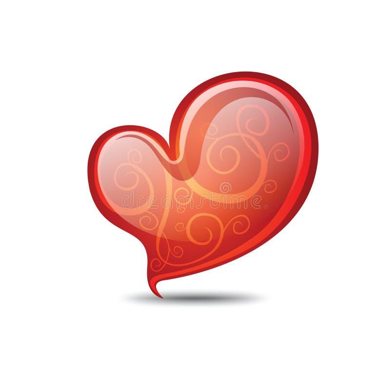 Coração completamente das riscas. Coração do Valentim ilustração royalty free