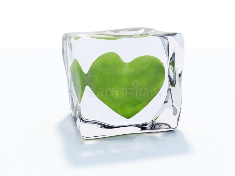 Coração congelado no gelo ilustração do vetor