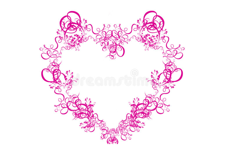 Coração cor-de-rosa abstrato no fundo branco ilustração do vetor