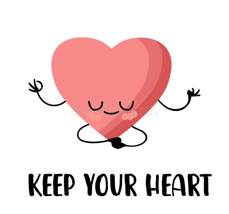 Coração cor-de-rosa-branca sobre fundo branco Cartão postal para o dia 14 de fevereiro Amor e romance ilustração royalty free