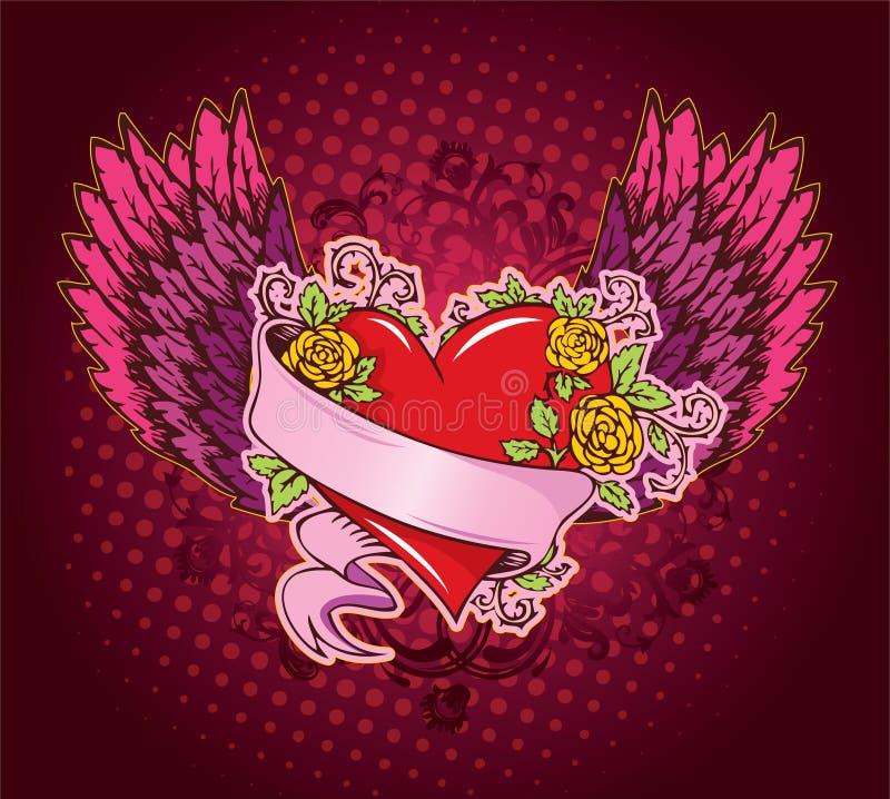 Coração cor-de-rosa com asas ilustração stock