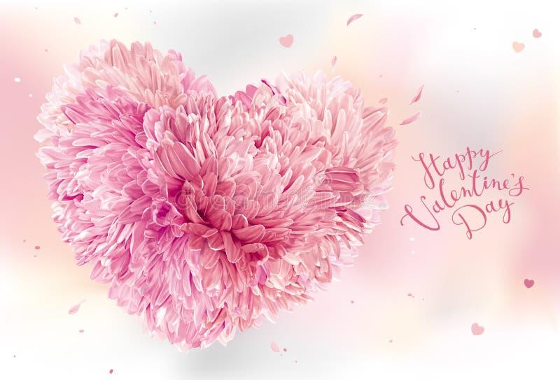 Coração cor-de-rosa da flor para o dia do ` s do Valentim ilustração do vetor