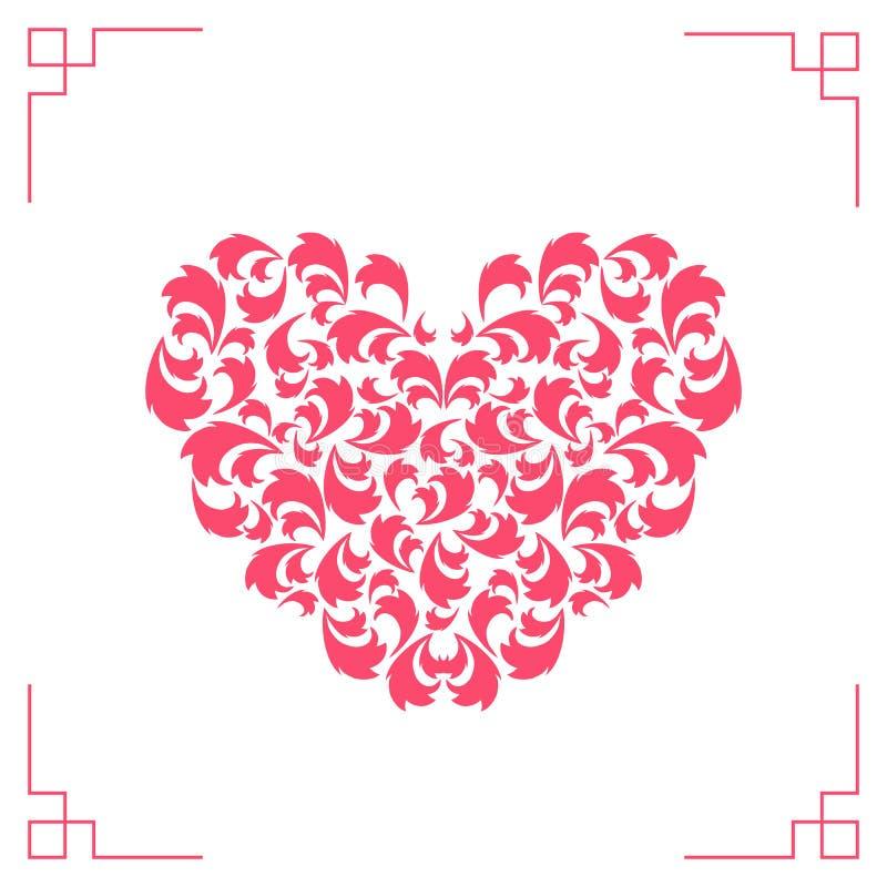 Coração cor-de-rosa em um fundo branco Dia do `s do Valentim Vale-oferta bonito com corações Elementos elegantes do projeto ilustração stock