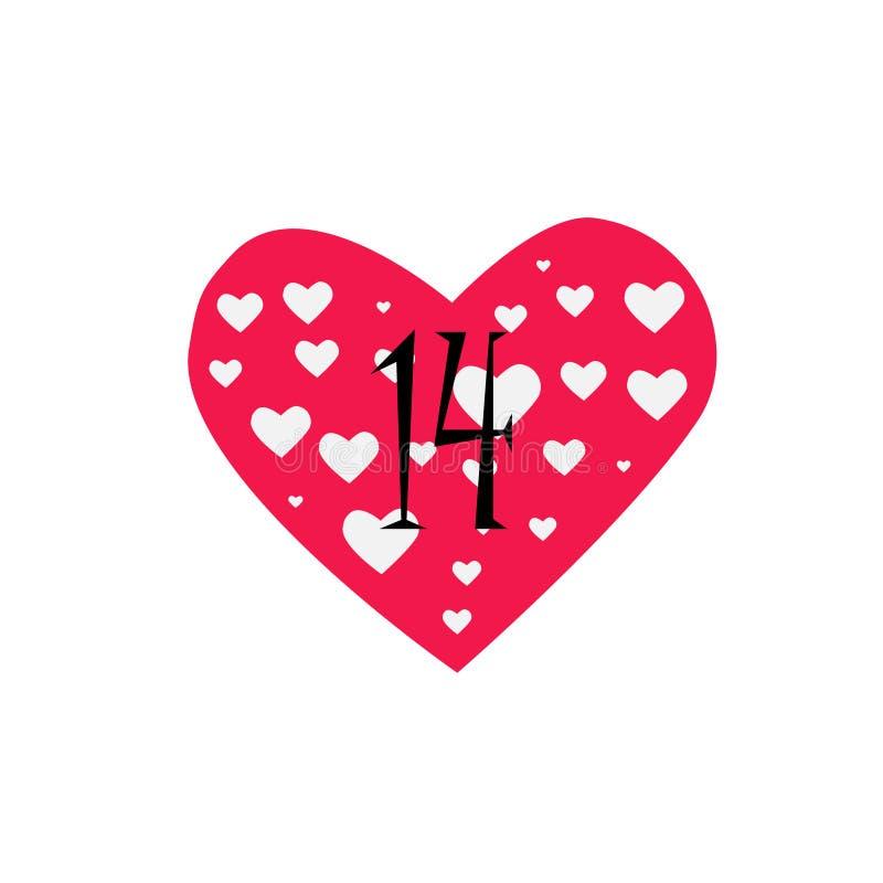 Coração cor-de-rosa enchido com os corações brancos pequenos e o número preto 14 ilustração do vetor