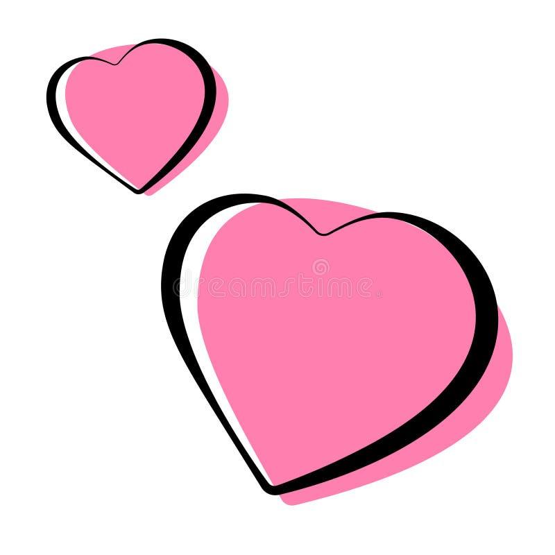 Coração cor-de-rosa ilustração esboçada dada forma do vetor dos ícones ilustração do vetor
