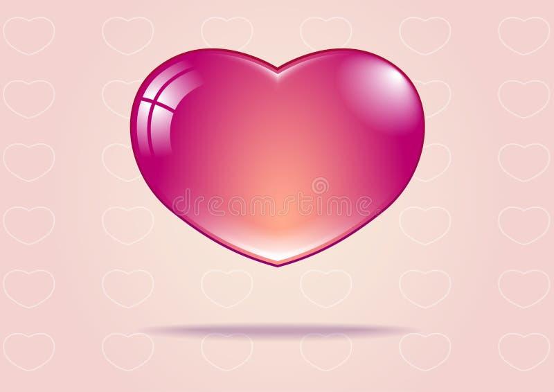 Coração cor-de-rosa no fundo cor-de-rosa com coração branco imagem de stock royalty free