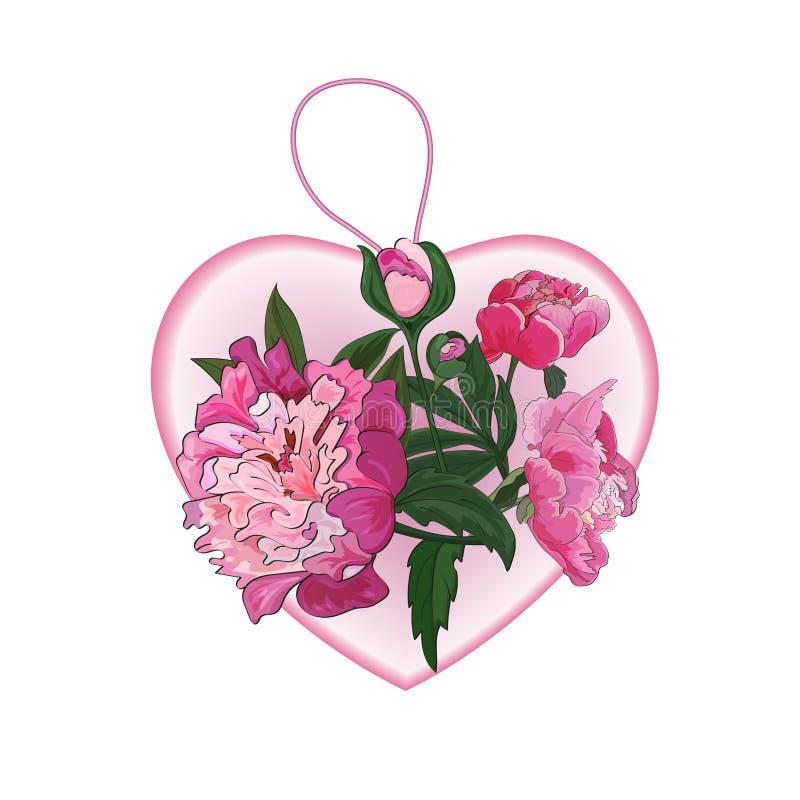 Coração cor-de-rosa, pendente com as flores cor-de-rosa das peônias Vetor ilustração royalty free