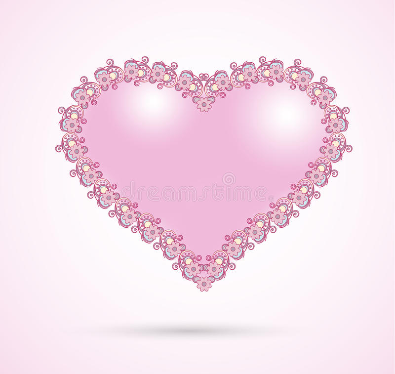 Coração cor-de-rosa romântico ilustração royalty free