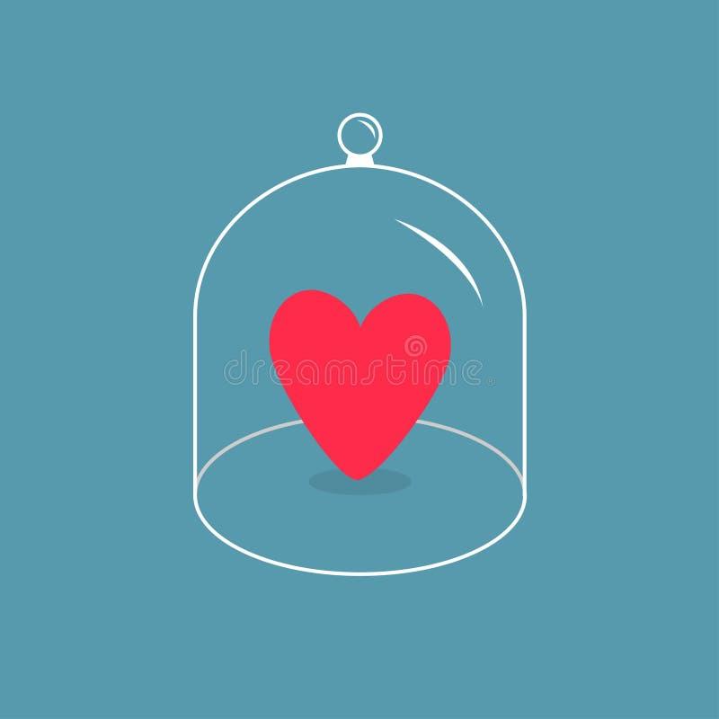 Coração cor-de-rosa Tampão de vidro da tampa do sino Abóbada da tampa da meia esfera com punho Cartão do amor ilustração royalty free