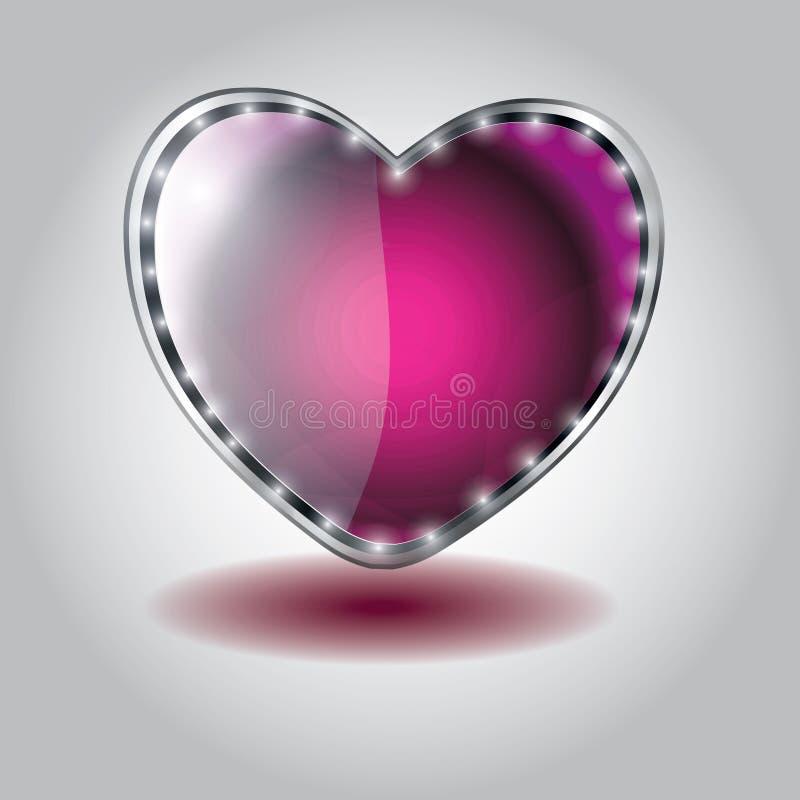 Coração cor-de-rosa tecla de vidro dada forma. ilustração stock