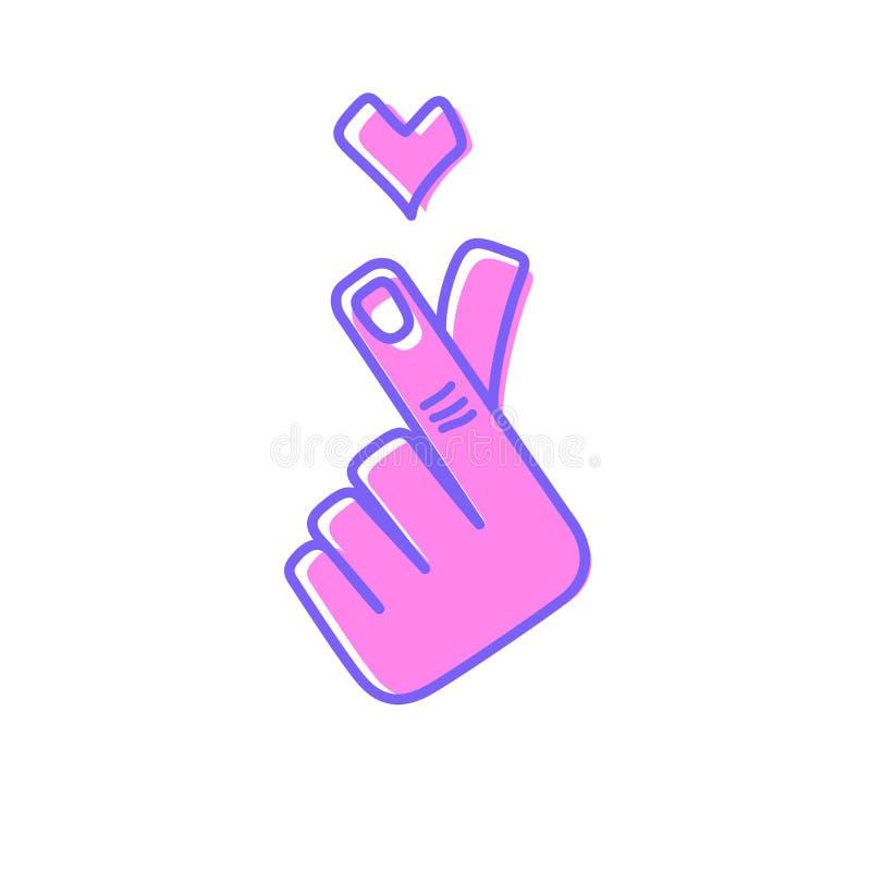 Coração coreano da mão do símbolo ilustração royalty free