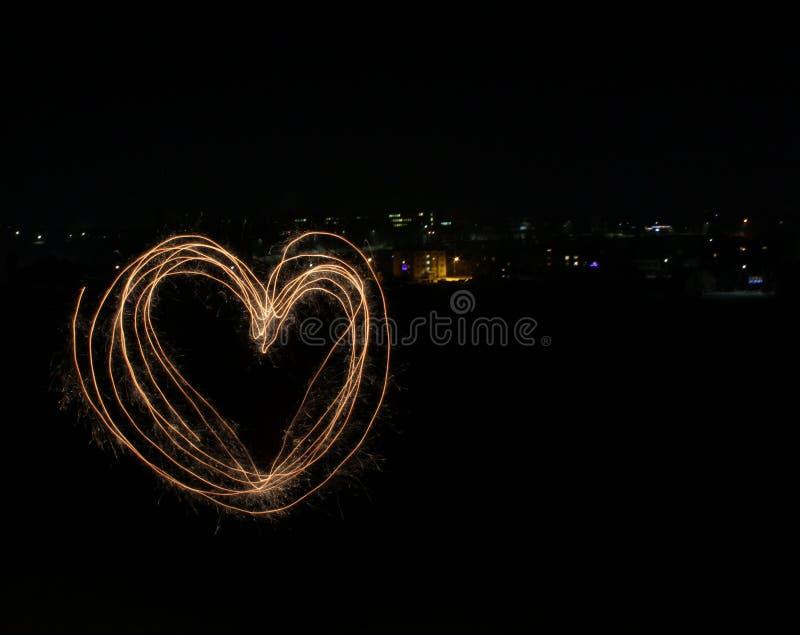 Coração criado pela luz imagens de stock
