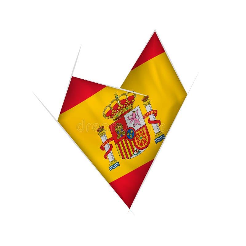 Coração curvado esboçado com bandeira da Espanha ilustração do vetor