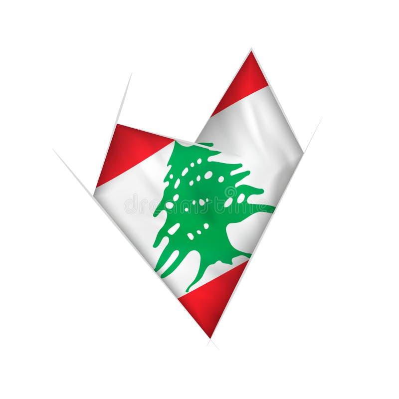 Coração curvado esboçado com bandeira de Líbano ilustração stock